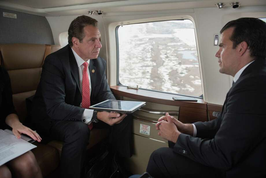 Governor Andrew Cuomo takes Puerto Rico Governor Ricardo Rosselló on a tour of areas impacted by Superstorm Sandy in the state's new 2013 Sikorsky S76D helicopter on Nov. 2, 2017. (Office of the Governor) Photo: Don Pollard / Office of Governor Andrew M. Cuomo, New York State