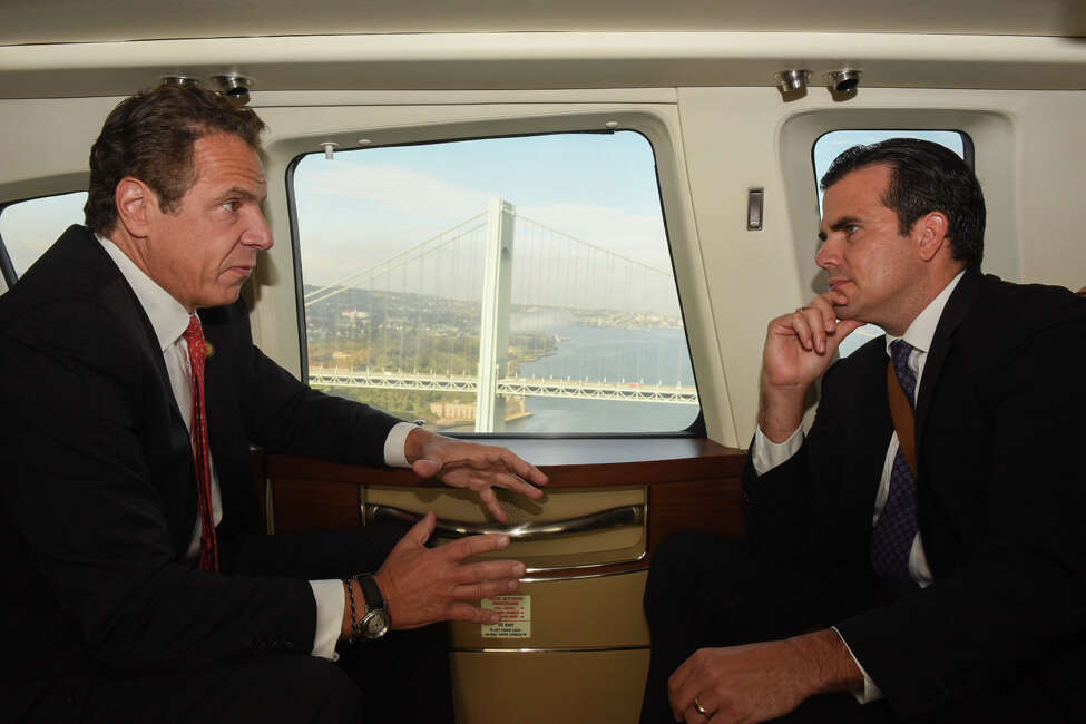 Governor Andrew Cuomo takes Puerto Rico Governor Ricardo Rosselló on a tour of areas impacted by Superstorm Sandy in the state's new 2013 Sikorsky S76D helicopter on Nov. 2, 2017. (Office of the Governor)
