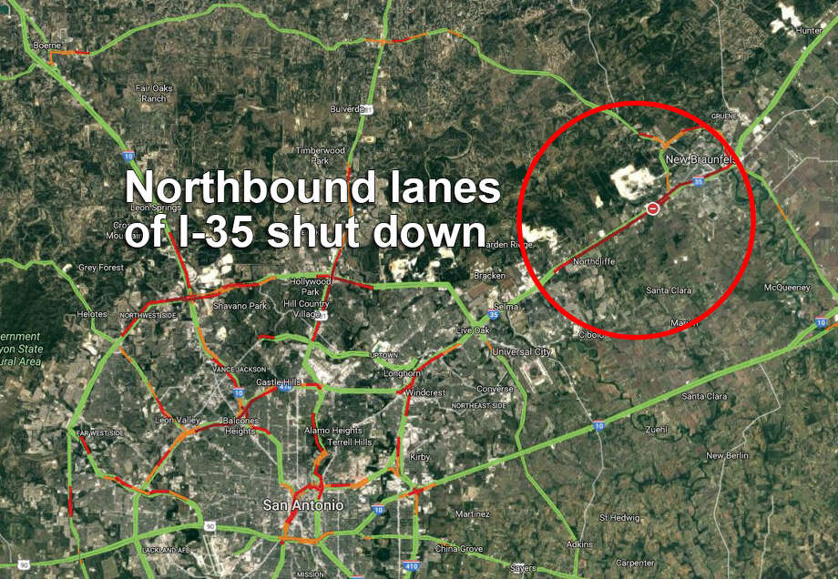 Police say commuters should expect traffic going both ways on Interstate 35 between San Antonio and New Braunfels following a major wreck. All northbound lanes were shut down. The map above shows traffic at about 4:55 p.m. Photo: Google Maps