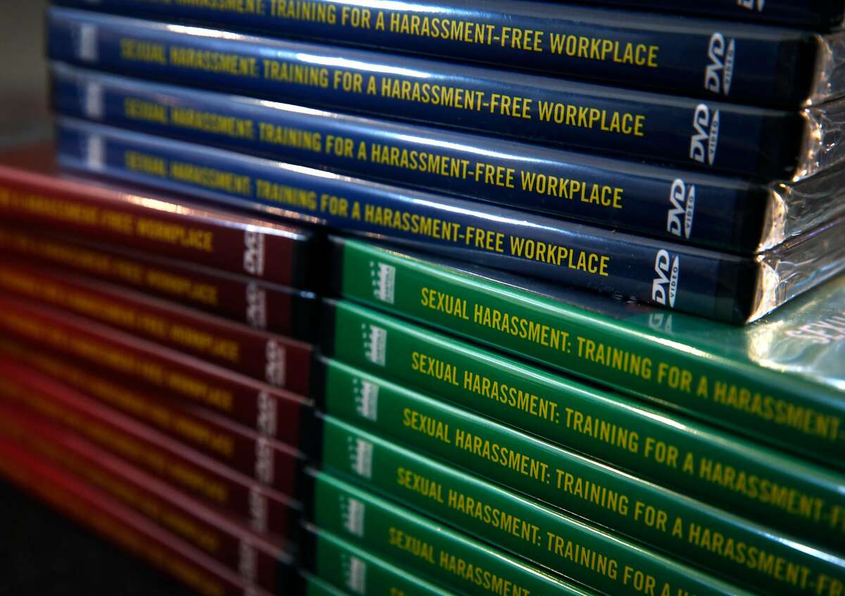 Training videos on sexual harassment are stacked at Kantola Productions in Mill Valley, Calif. on Tuesday, Nov. 28, 2017. Kantola produces a number of training videos for the workplace.