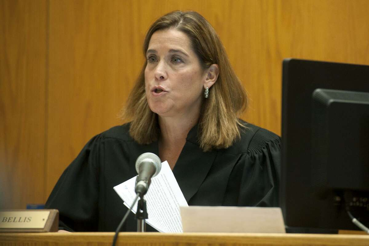 Judge Barbara Bellis presides at a hearing challenging the results of the recent special primary in the 133rd City Council District in Bridgeport, Conn. Nov. 27, 2017.