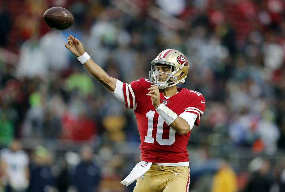 San Francisco 49ers quarterback Jimmy Garoppolo (10) throws against the Seattle Seahawks during the second half of an NFL football game Sunday, Nov. 26, 2017, in Santa Clara, Calif. (AP Photo/John Hefti) Photo: John Hefti, Associated Press