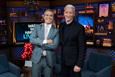 WATCH WHAT HAPPENS LIVE WITH ANDY COHEN -- Pictured (l-r): Andy Cohen and Anderson Cooper -- (Photo by: Charles Sykes/Bravo/NBCU Photo Bank via Getty Images)