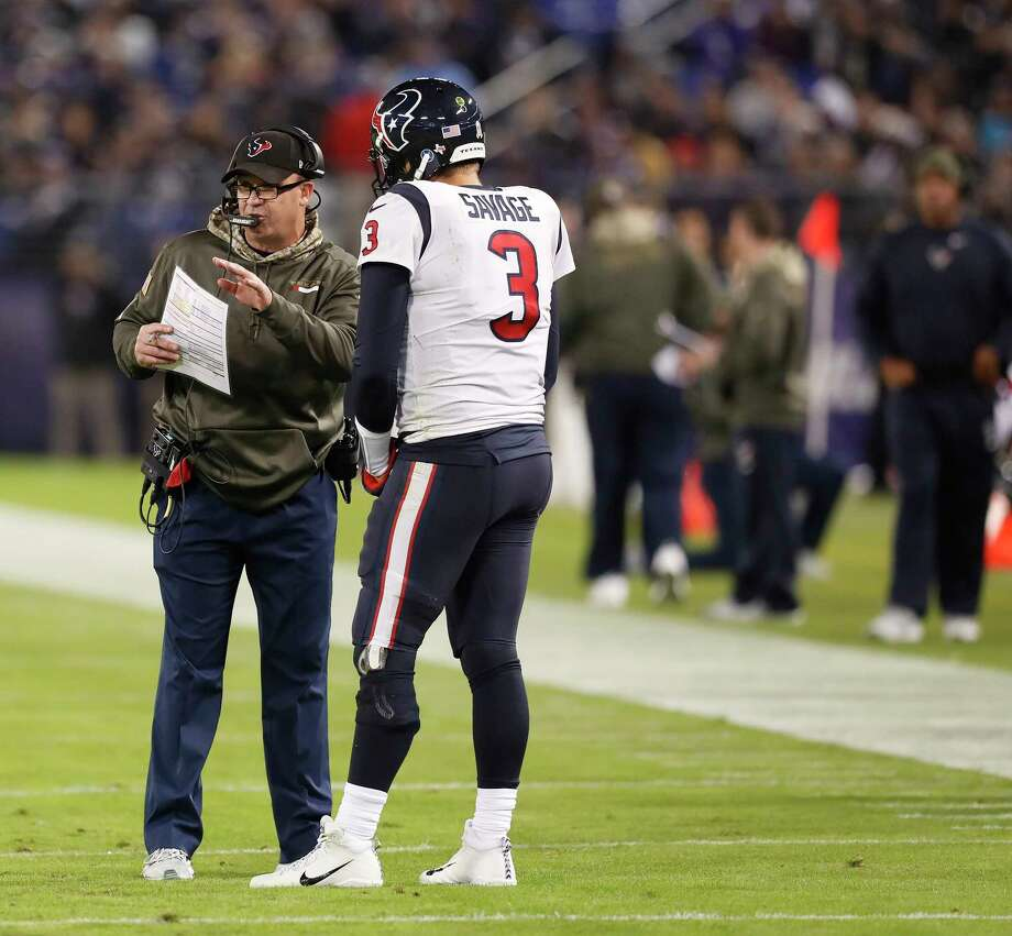 Coach Bill O'Brien, left, wants to continue working with Tom Savage to correct his mistakes. Photo: Brett Coomer, Staff / © 2017 Houston Chronicle