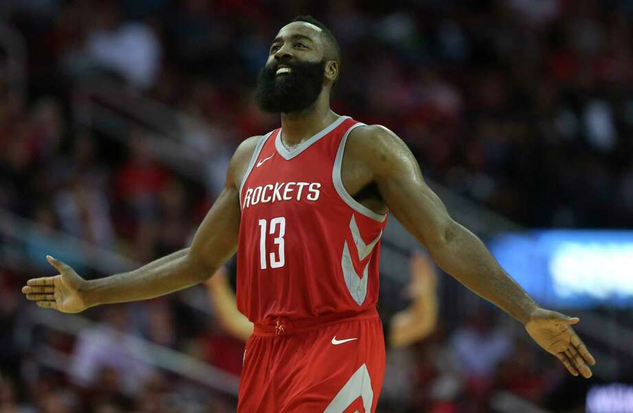 Houston Rockets guard James Harden (13) reacts to not making the basket at the end of the third quarter of an NBA game against the Memphis Grizzlies at Toyota Center on Saturday, Nov. 11, 2017, in Houston. ( Yi-Chin Lee / Houston Chronicle ) Photo: Yi-Chin Lee, Staff / © 2017 Houston Chronicle