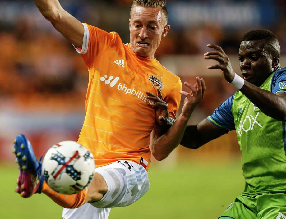 Defender Dylan Remick re-signed with the Dynamo on Wednesday. He appeared in 14 games during the regular season and three more in the playoffs. His goal against Portland in the Western Conference semifinals sent the Dynamo through to the conference finals. Photo: Brett Coomer, Staff / © 2017 Houston Chronicle