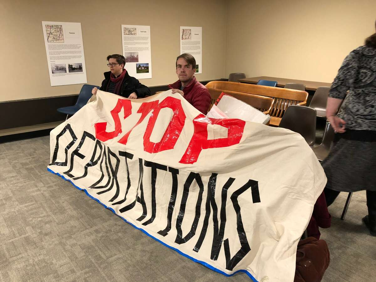 Rensselaer County residents attended a public hearing to speak out against Sheriff Patrick Russo's ICE 287(g) application on Nov. 28, 2017. (Massarah Mikati/Times Union)