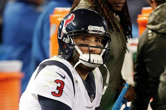Houston Texans quarterback Tom Savage (3) reacts on the bench during the fourth quarter of an NFL football game at M & T Bank Stadium on Monday, Nov. 27, 2017, in Baltimore. ( Brett Coomer / Houston Chronicle )