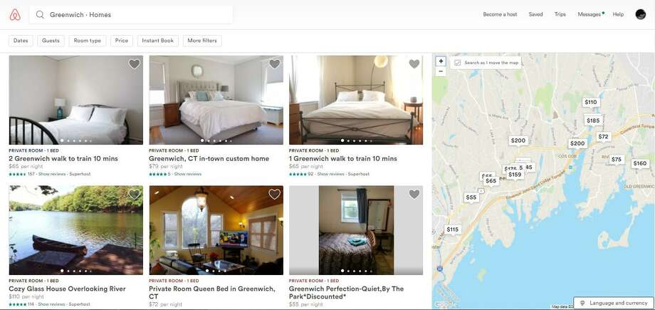A screenshot of the Airbnb website featuring homes in Greenwich. Photo: Contributed Photo / Contributed Photo / Greenwich Time Contributed Photo
