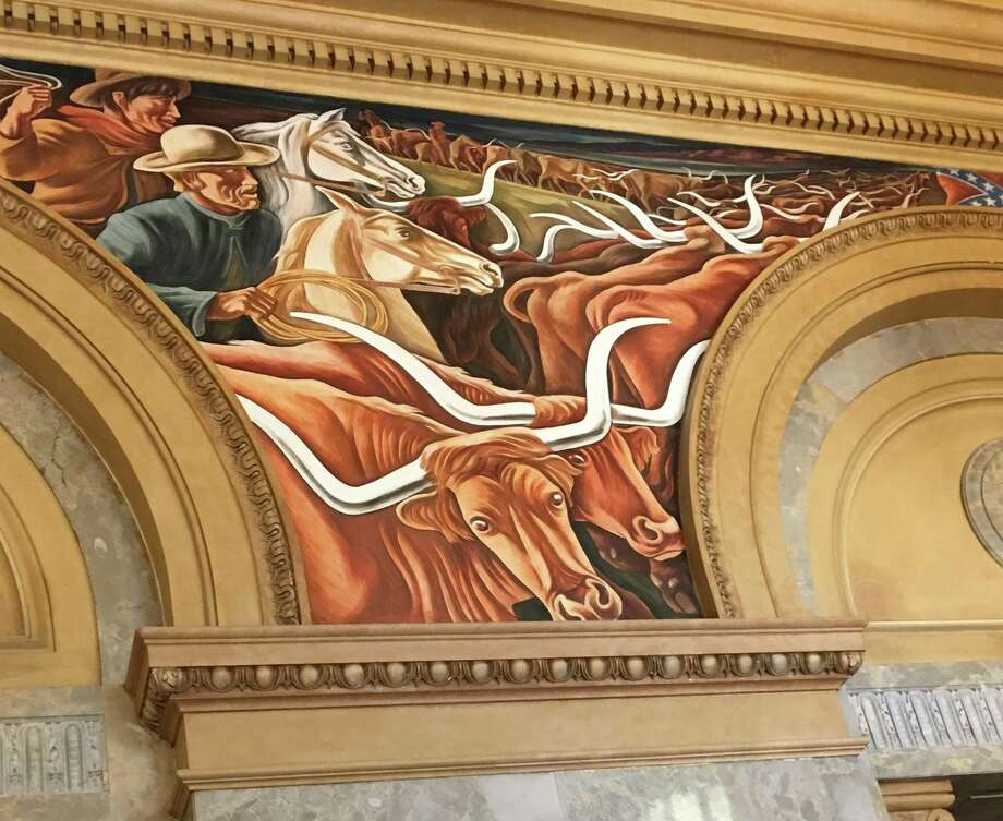 "Close-up of the mural panel, ""Cattle Trail,"" showing cowboys driving longhorns to market, is one of 16 panels in the series by Howard Cook. Photo: Lily Casura / For The Express-News"