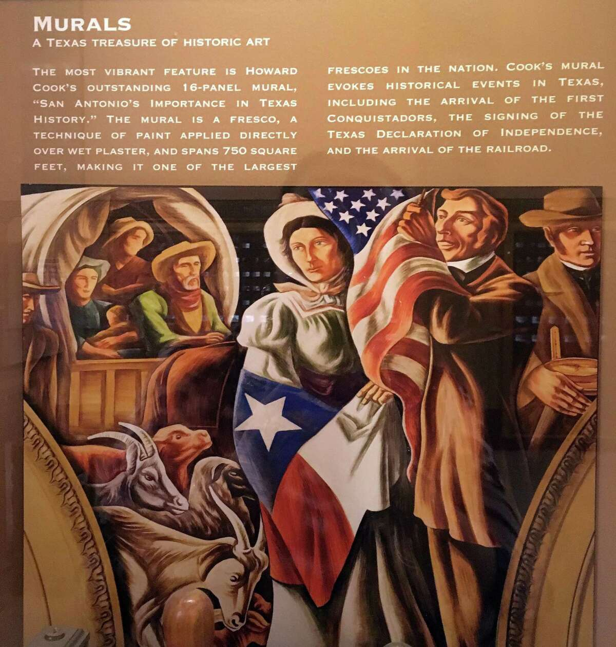 Close-up of mural panel from one of the lobby panels about the series, depicting Stephen F. Austin bringing pioneer families to Texas.