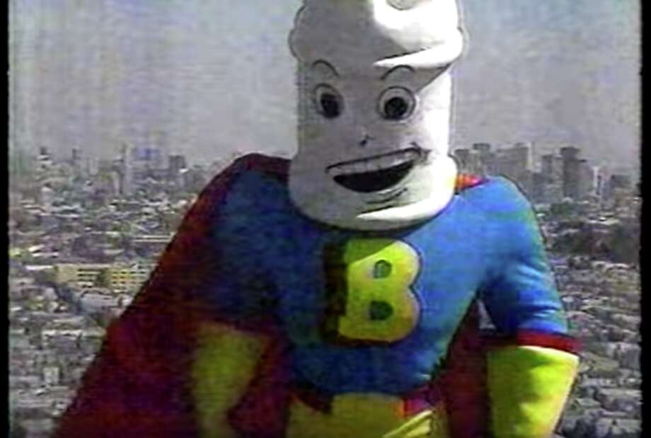 Bleachman, as played by Les Pappas, appears in a television commercial. Photo: Youtube/screenshot