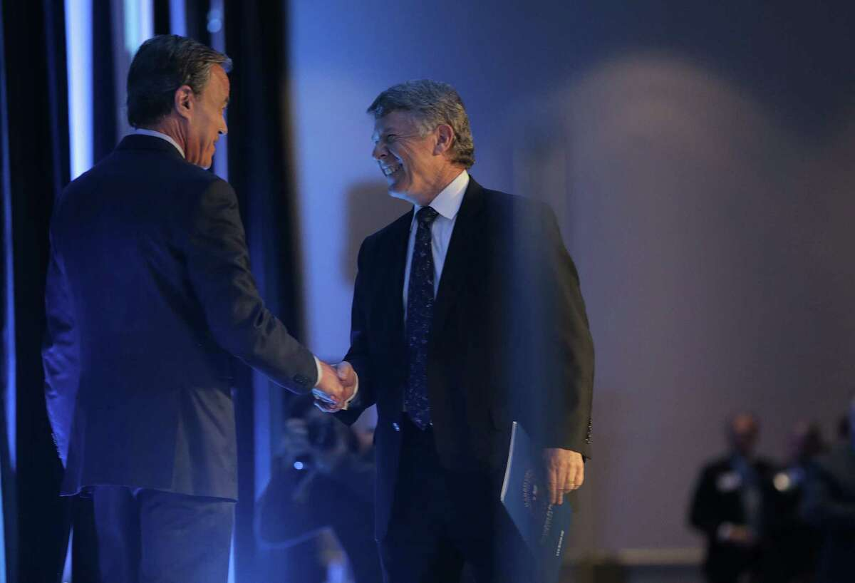 Harris County Judge Ed Emmett shakes hands with Rep. Joe Straus before his state of the county address at NRG Convention Center on Tuesday, Nov. 28, 2017, in Houston. ( Elizabeth Conley / Houston Chronicle )
