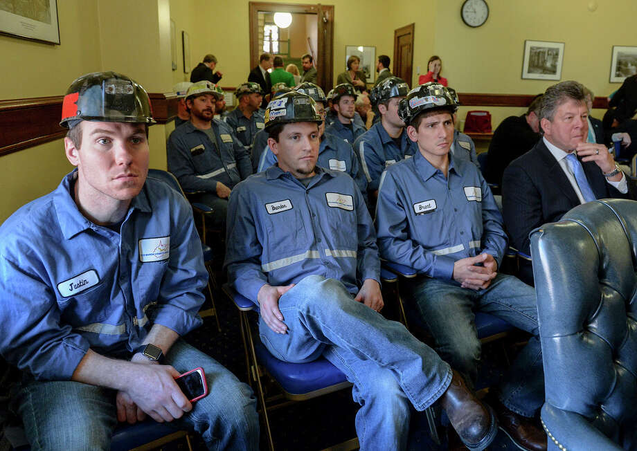 Coal miners attend an Environmental Protection Agency public hearing held Tuesday at the state Capitol in Charleston, W.Va.  Photo: Chris Dorst, MBO / Charleston Gazette-Mail
