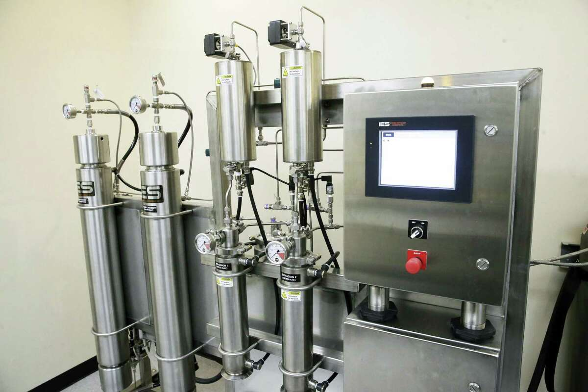 Equipment in the extraction room is shown as Compasionate Cultivation opens its doors to show off its brand new facility south of Austin on November 28, 2017