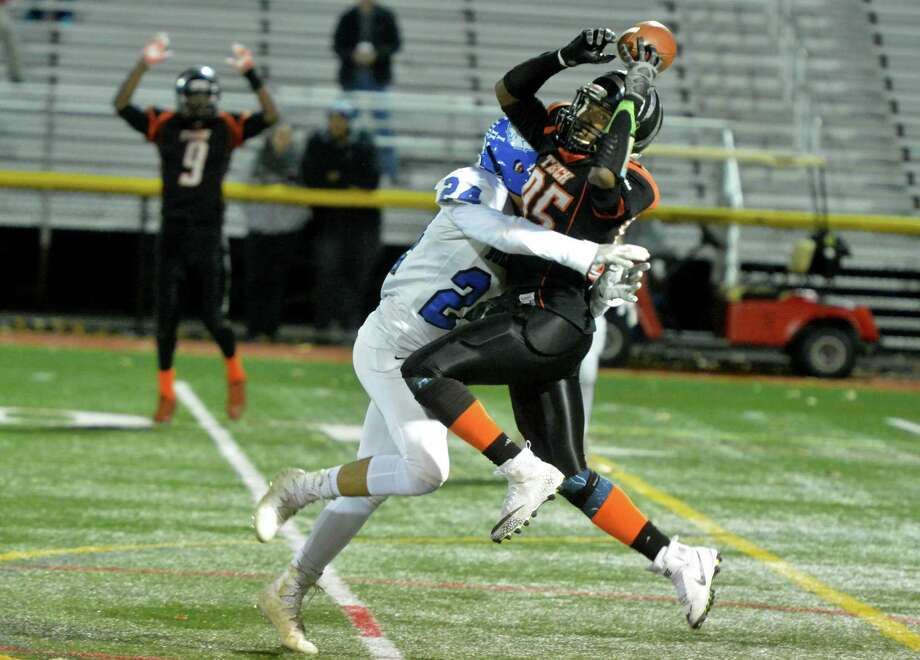 Bullard Havens  #85 Tavon Smith-Brown gets his hands on the ball during Class S Quaterfinals football game vs. #24 Kenneth Thompson and the Stafford co-op team on Tuesday November 28, 2017 in Stratford Conn. Photo: Alex Von Kleydorff / Hearst Connecticut Media / Norwalk Hour