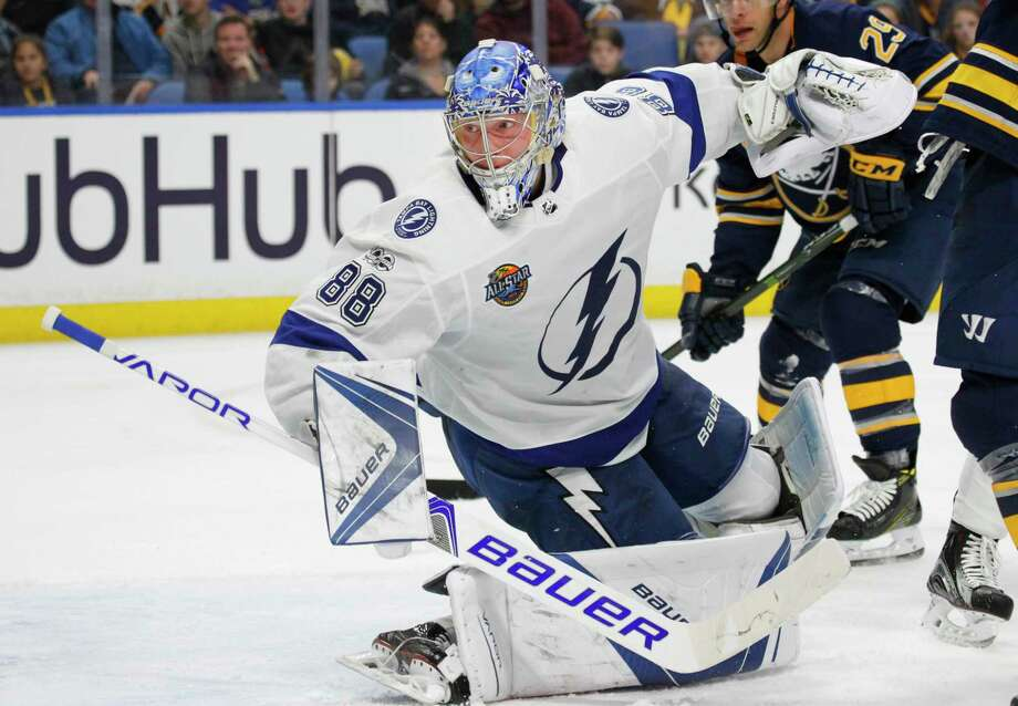 Tampa Bay Lightning goalie Andrei Vasilevskiy (88) watches the puck go wide during the third period of an NHL hockey game against the Buffalo Sabres,Tuesday Nov. 28, 2017, in Buffalo, N.Y. (AP Photo/Jeffrey T. Barnes) ORG XMIT: NYJB116 Photo: Jeffrey T. Barnes / 2017