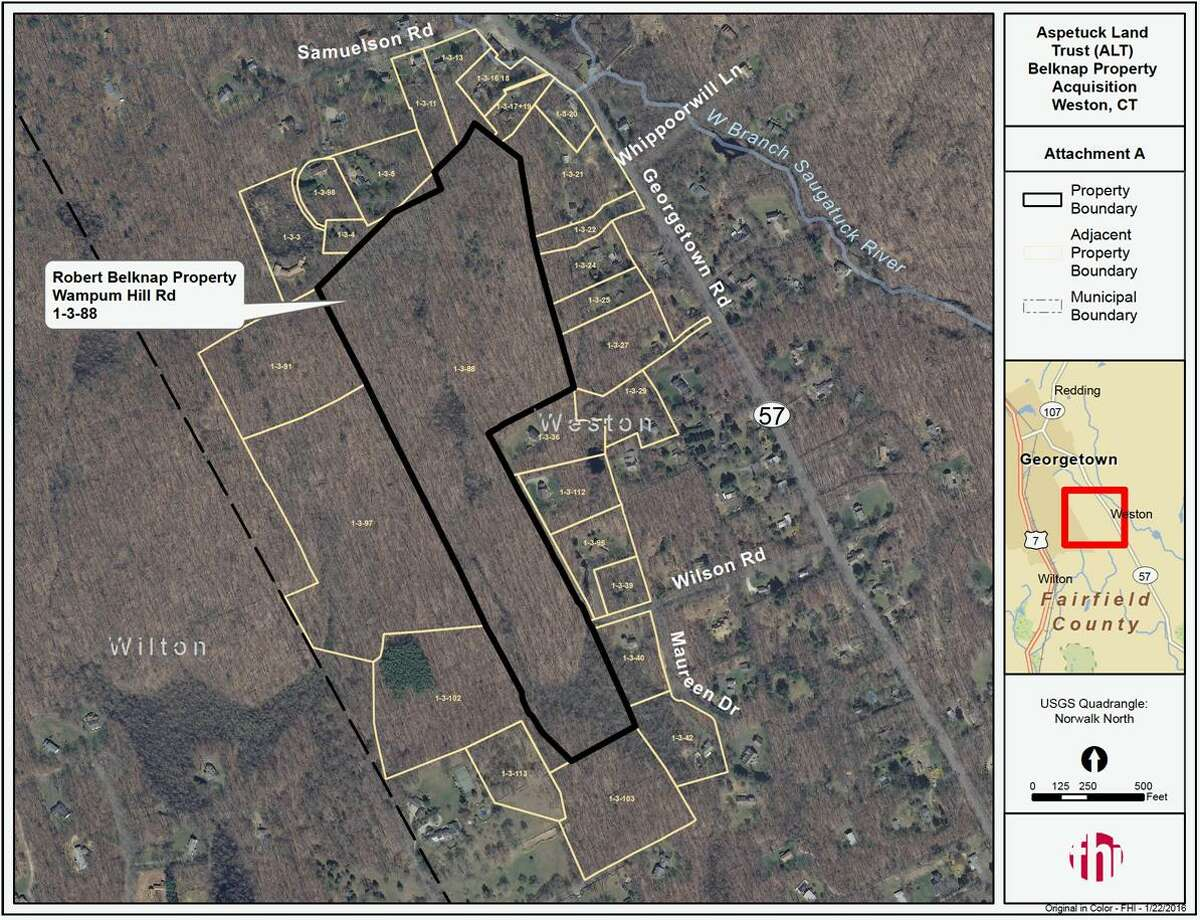 The 38-acre Belknap property recently purchased by Aspetuck Land Trust for $367,000. The property is located off Georgetown Road and adds to Aspetuck Land Trust's existing 86-acre Honey Hill Preserve in Weston and Wilton.