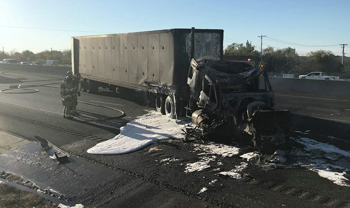 It took roughly three hours for crews to open up traffic after an 18-wheeler caught crashed and caught on fire Tuesday, Nov. 28, 2017, backing up traffic for miles into the San Antonio-area.