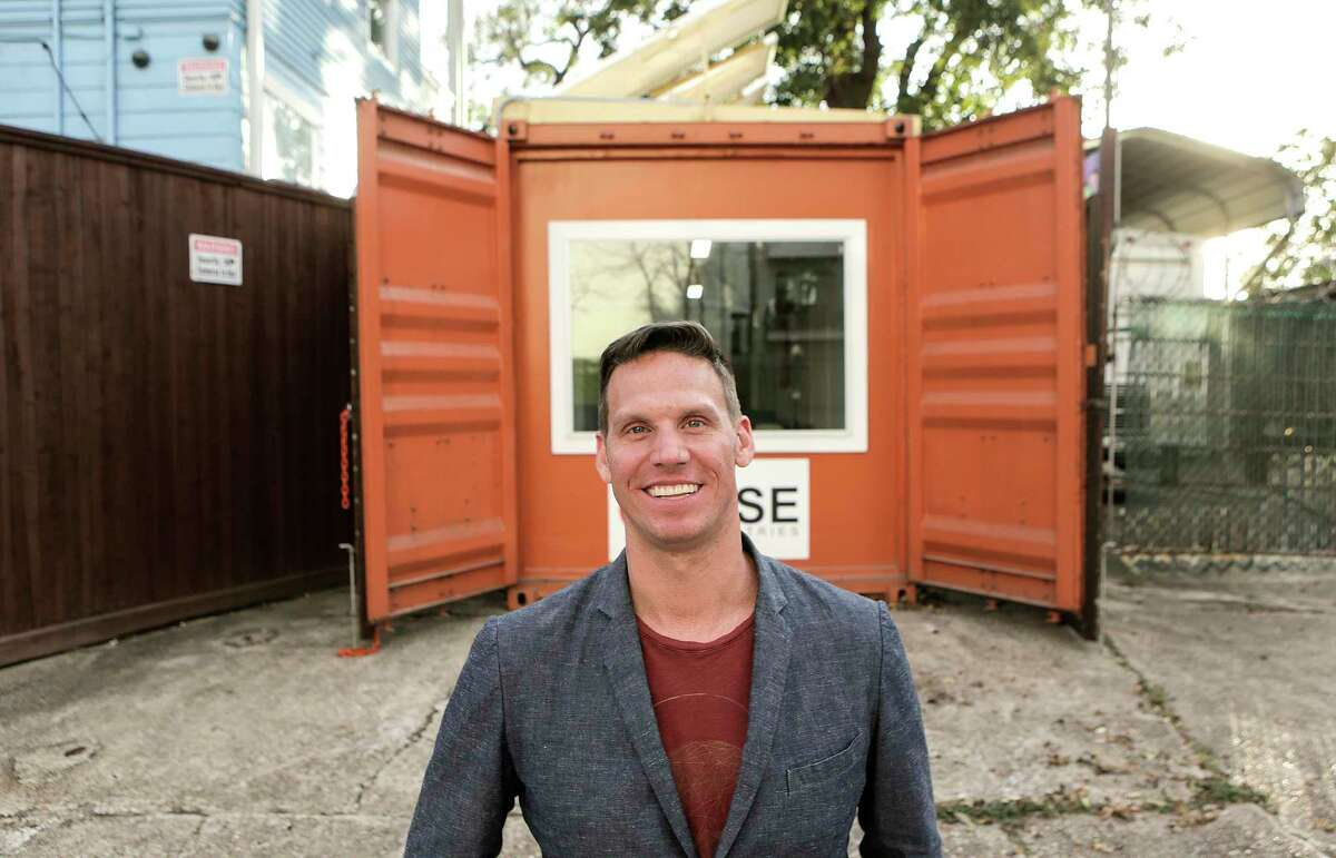 Mike Dieterich, president of RISE Industries, outside a conainter office his company built on Tuesday, Nov. 21, 2017. ( Elizabeth Conley / Houston Chronicle )