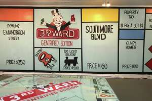 """Marc Newsome's """"I Love 3W"""" is a Third Ward-inspired Monopoly Game, rendered as a room, at Project Row Houses."""