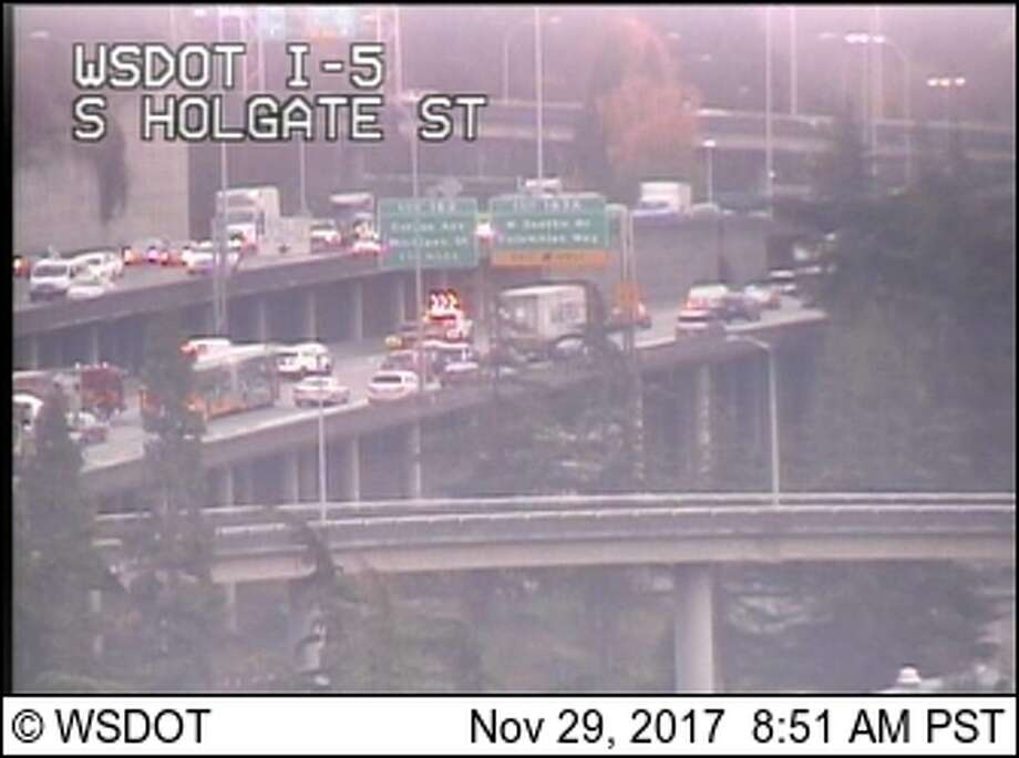 A collision blocked lanes near exit 163A on southbound Interstate 5, near the onramp to the West Seattle Bridge. Photo: WSDOT