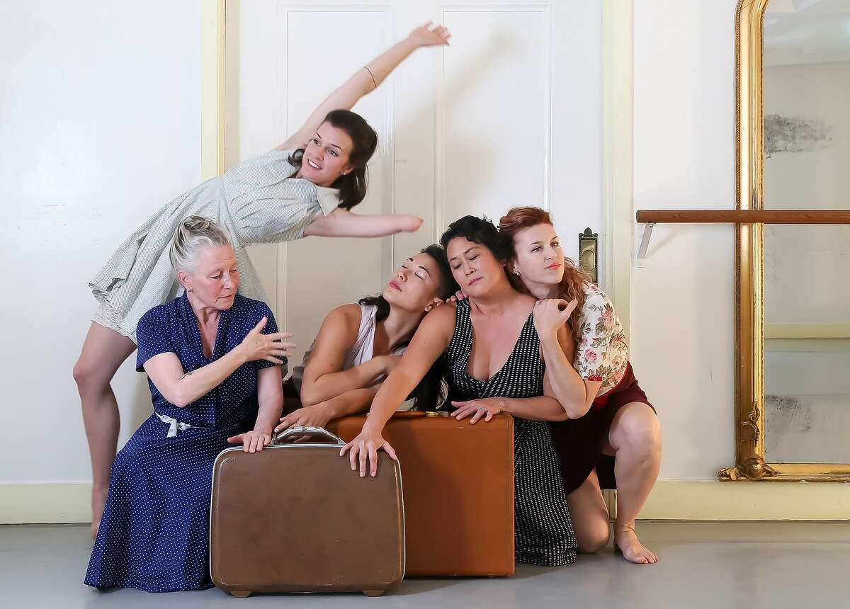 """In Sarah Bush Dance Project�s """"Homeward,"""" Julie Crothers (standing), Joan Lazarus, Rose Huey, Sue Li Jue and Jeni Leary plumb the meaning of home. Photo: Lisa Harding"""