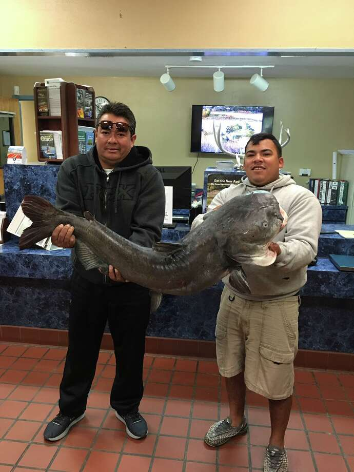 Texas Parks and Wildlife posted this photo of the Aguilar and Hernandez holding the monster fish to its Facebook page on Sunday. Photo: Texas Parks And Wildlife