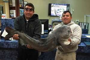 Texas Parks and Wildlife posted this photo of the Aguilar and Hernandez holding the monster fish to its Facebook page on Sunday.