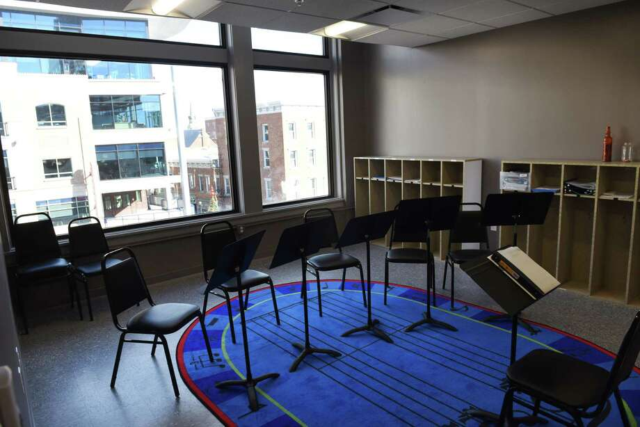 Interior of one of the music classrooms at the new $2.2 million Adeline Graham Theatrical Training and Innovation Center at Proctors on Wednesday, Nov. 29, 2017, in Schenectady, N.Y. The facility is located on the third floor of  the former Carl Company building, which is connected to Proctors. (Will Waldron/Times Union) Photo: Will Waldron, Albany Times Union / 20042243A