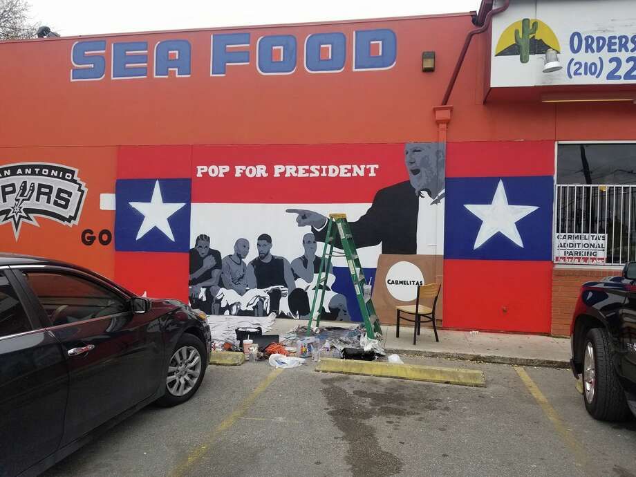 "A portion of a mural at Carmelita's Mexican Restaurant at 2218 Broadway touting Spurs Coach ""Pop for President"" was covered shortly after completion due to complaints from customers, the artist and restaurant owner said. Photo: Provided By Albert Gonzales"