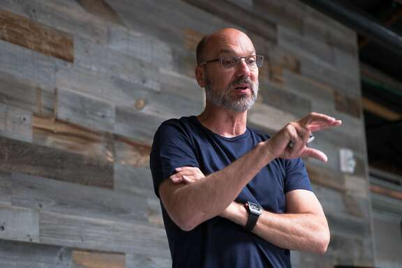 Playground Global CEO Andy Rubin talks about Essential's new smartphone at Playground Global in Palo Alto, Calif. on Tuesday, Aug. 15, 2017. Essential is releasing a phone that allows a 360 degree camera to be easily attached.