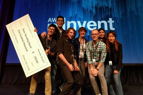 The UW Sounding Board team (left to right: Hao Fang, Hao Cheng, Ari Holtzman, Mari Ostendorf, Maarten Sap, Elizabeth Clark, Yejin Choi) wins Amazon's inaugural Alexa Prize. Credit: University of Washington