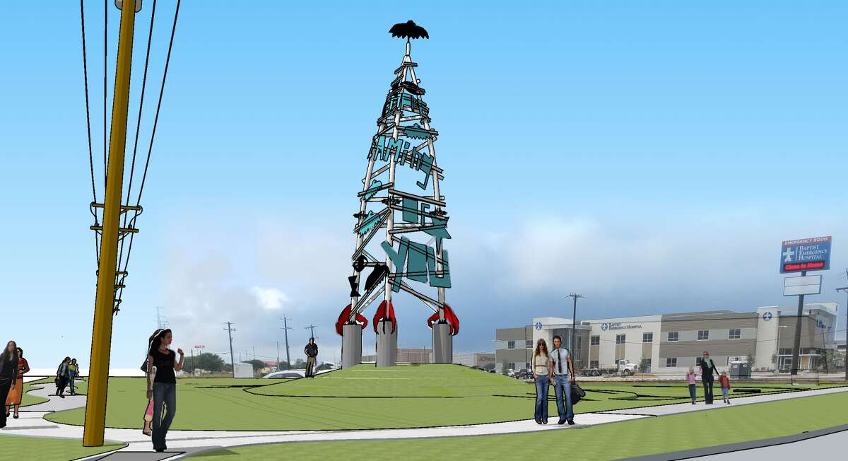 """The """"Dream Song Tower,"""" which features odes to Selena and local folklore, """"will serve as a welcoming gateway to the South San District,"""" San Antonio's Department of Arts and Culture told mySA.com."""