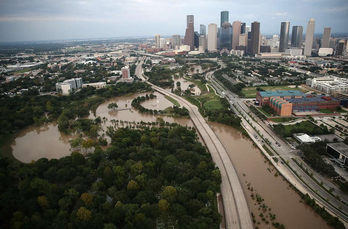 Harvey Flooding is shown near downtown Houston following Hurricane Harvey August 30, 2017 in Houston, Texas.