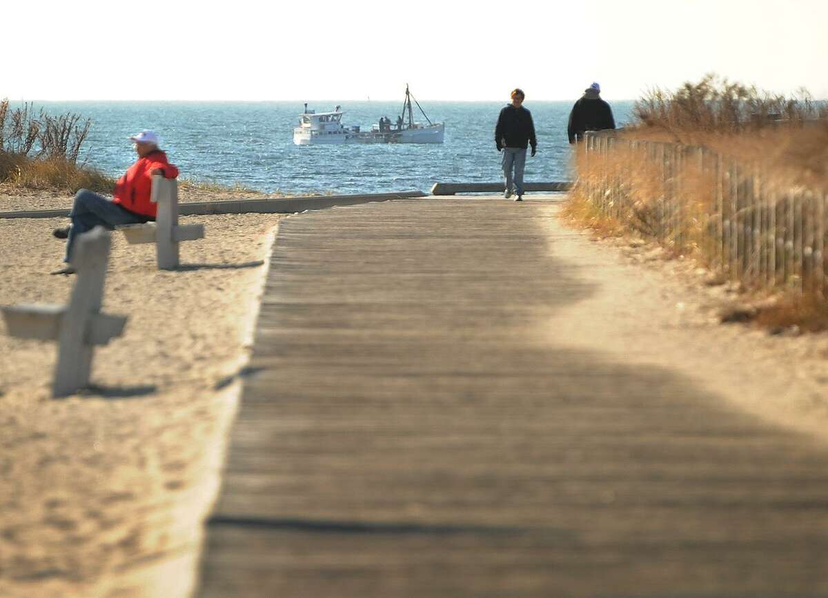 The boardwalk at Silver Sands State Park in Milford, Conn. on Wednesday, November 29, 2017.