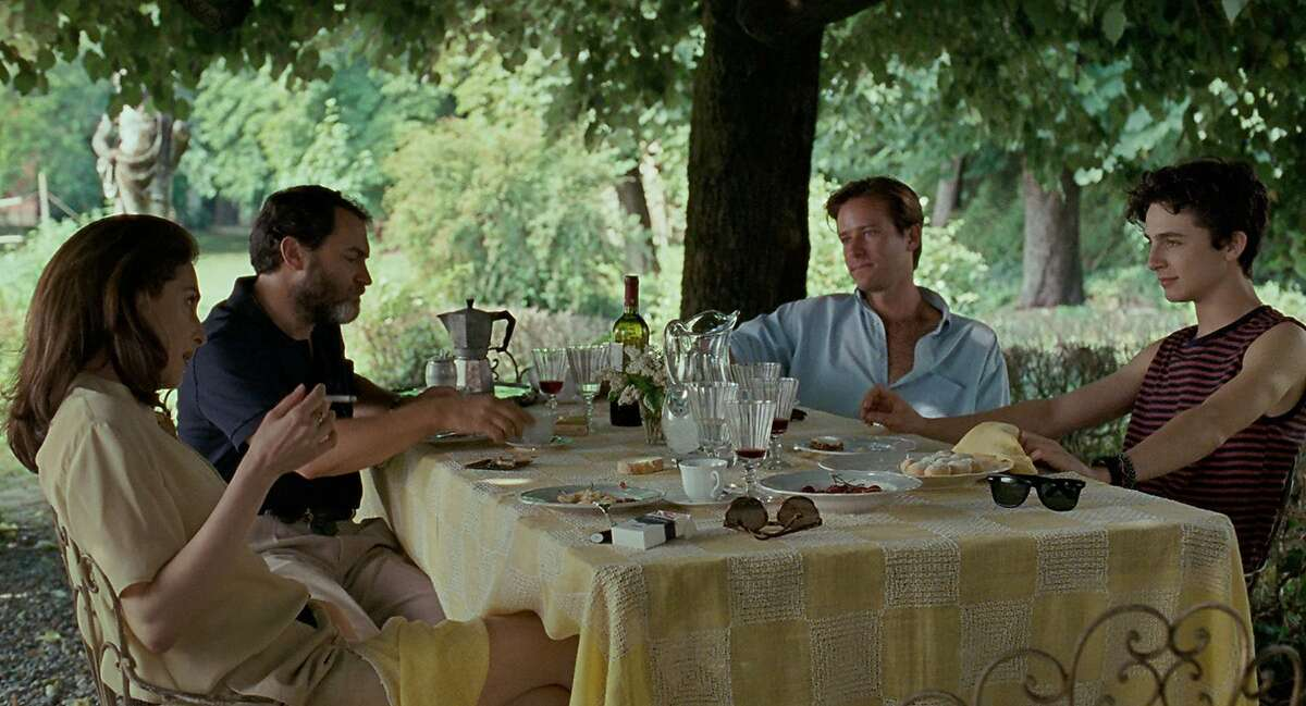 """Clockwise, from left: Amira Cesar, Michael Stuhlbarg, Armie Hammer and Timothée Chalamet in """"Call Me By Your Name."""" Photo by Sayombhu Mukdeeprom, courtesy of Sony Pictures Classics."""