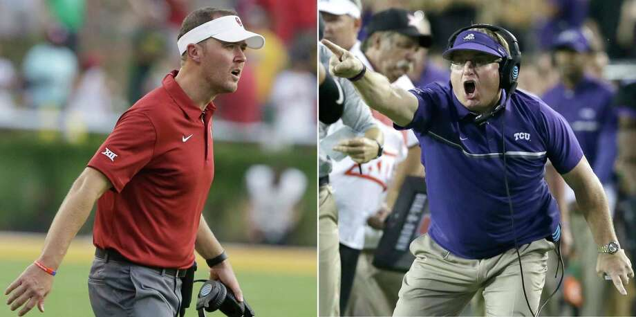FILE - At left, in a Sept. 23, 2017, file photo, Oklahoma head coach Lincoln Riley looks on from the sidelines during the second half of an NCAA college football game against Baylor, in Waco, Texas. At right, in an Oct. 1, 2016, file photo, TCU head coach Gary Patterson yells during the second half of an NCAA college football game, in Fort Worth, Texas. TCU coach Gary Patterson doesn't believe it was an errant or accidental pass that hit safety Niko Small while going on the field for pregame warmups the last time the No. 10 Horned Frogs played No. 2 Oklahoma. Patterson also takes exception to how Sooners coach Lincoln Riley responded.  (AP Photo/FIle) Photo: STF / AP