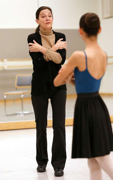 San Francisco Ballet's Anita Paciotti, the ballet master and principal character dancer, coachers dancers playing the role of Clara in the Nutcracker. Photo: Liz Hafalia, The Chronicle