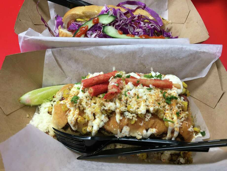 The Elote is topped with roasted corn, smoked queso, crumbled Takis and mayo. Photo: Paul Stephen / San Antonio Express-News