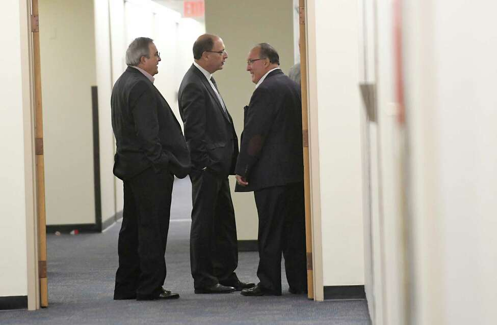 Members of the state Legislature's Ethics and Guidance Committee gather for a closed-door meeting in the Legislative Office Building on Tuesday, Nov. 21, 2017 in Albany, N.Y. (Lori Van Buren / Times Union)