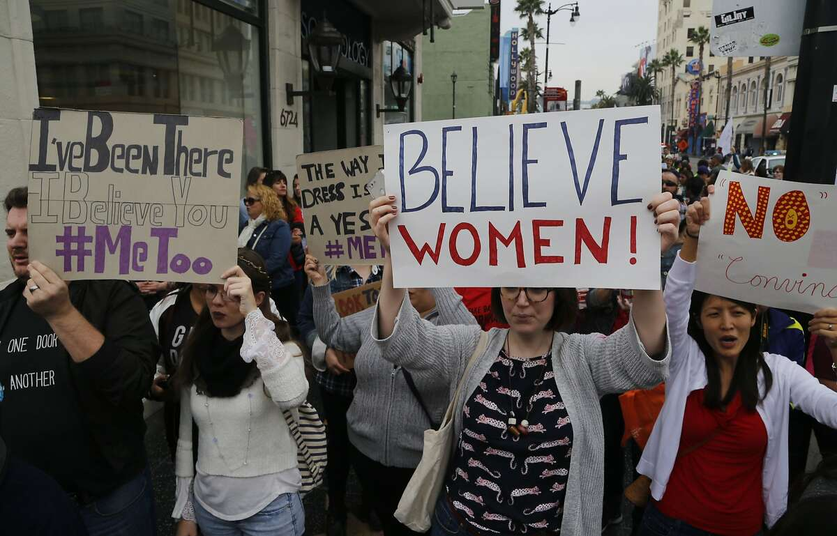 Participants march against sexual assault and harassment at the #MeToo March in the Hollywood section of Los Angeles on Sunday, Nov. 12, 2017.