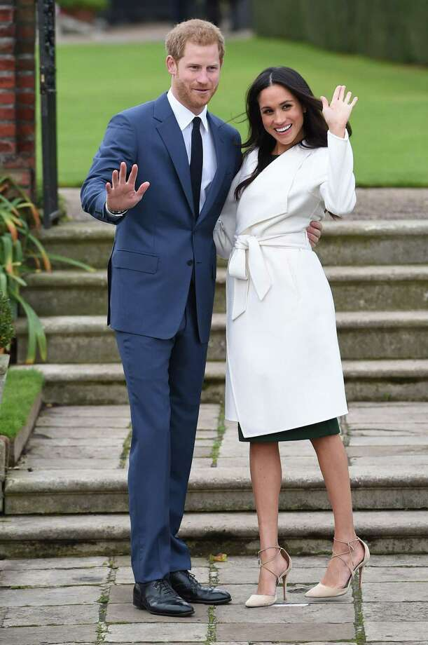 Prince Harry and Meghan Markle at a photocall to announce their engagement at Kensington Palace, in London, England, on Monday November 27, 2017. Photo: Eddie Mulholland /Daily Telegraph /TNS / Abaca Press