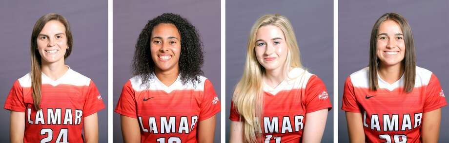 Four Lamar University soccer players were named to the the United Soccer Coaches NCAA Division I Women's All-South Region Team. From left, M.J. Eckart,Kelso Peskin, Lucy Ashworth and Amelia Fullmer. (Photos provided by Lamar Athletics)