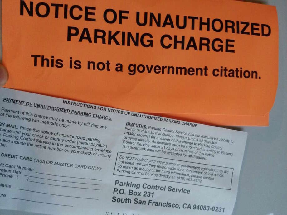 A ticket issued by a private parking company to a driver in San Francisco. Photo: Kelly B. / Yelp