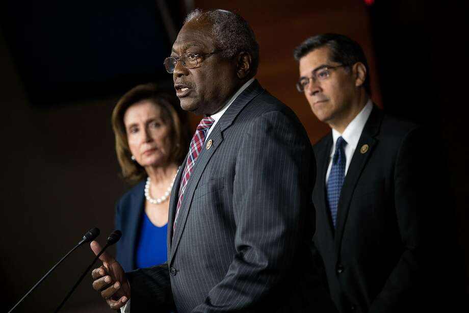 House Minority Leader Nancy Pelosi, D-Calif., and Rep. James Clyburn, D-S.C., with now-California Attorney General Xavier Becerra. Photo: Drew Angerer, Getty Images