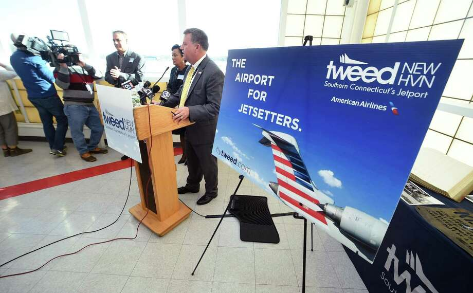 Tim Larson, executive director of the Tweed New Haven Airport Authority, speaks at a press conference Wednesday at the airport. Photo: Arnold Gold / Hearst Connecticut Media / New Haven Register