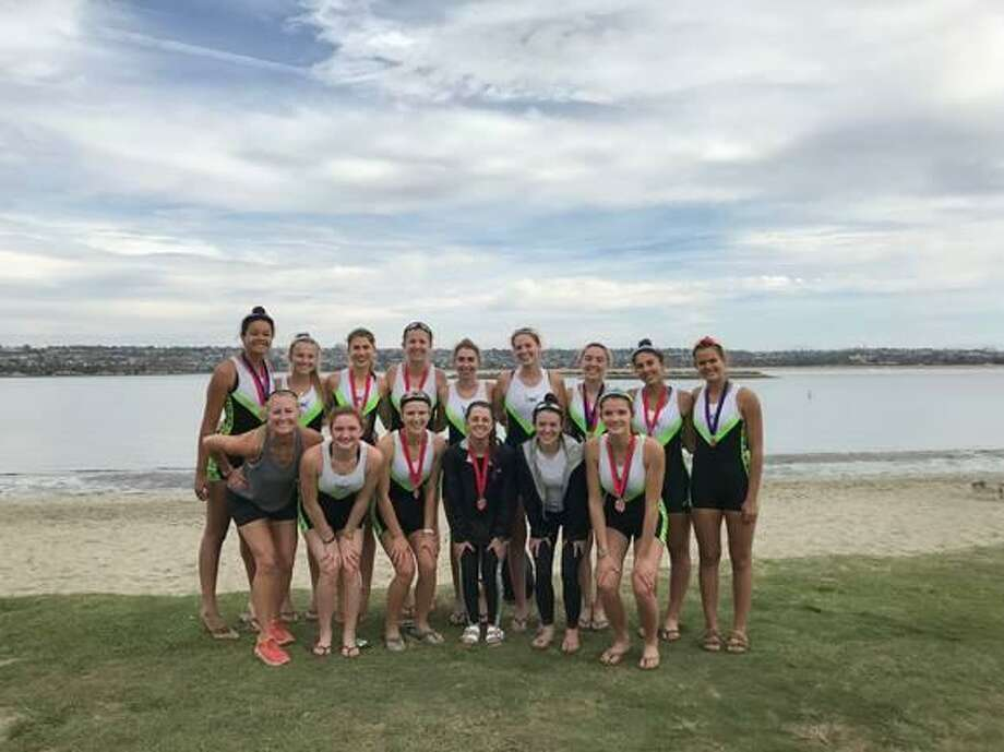 The Norwalk-based Connecticut Boat Club, the only East Coast team racing, won gold at the San Diego Fall Classic Regatta, which was held on Mission Bay in San Diego, Calif. Competing for CBC in the women's junior first varsity 4+ and winning gold were: Cece Challe (coxswain), Catherine Garrett, Olivia Luther, Kat Kern and Julia Abbruzzese. Competing in the women's junior 8+ and winning silver were: Cece Challe (coxswain), Julia Abbruzzese, Ella Petreski, Catherine Garrett, Olivia Luther, Casey Batson, Ellie Urdang, Kat Kern, and Jenna Macrae. The following girls took fifth place in the women's junior varsity 4+: Bella Fox (coxswain), Paige Purcel, Clara Geffs, Lucy Collins and Bridget Galloway. Picture, front row, from left, coach Liz Trond, Bridget Galloway (Ridgefield), Ella Petreski (Pound Ridge N.Y.), Cece Challe (New Canaan), Bella Fox (Wilton) and Julia Abbruzzese (Darien, Ridgefield). Second row, Olivia Luther (Fairfield), Paige Purcel (Ridgefield), Jenna Macrae (Stamford), Casey Batson (Darien), Lucy Collins (Ridgefield), Clara Geffs (Greenwich), Catherine Garrett (Darien), Ellie Urdang (Greenwich) and Kat Kern (Greenwich). Photo: Contributed Photo