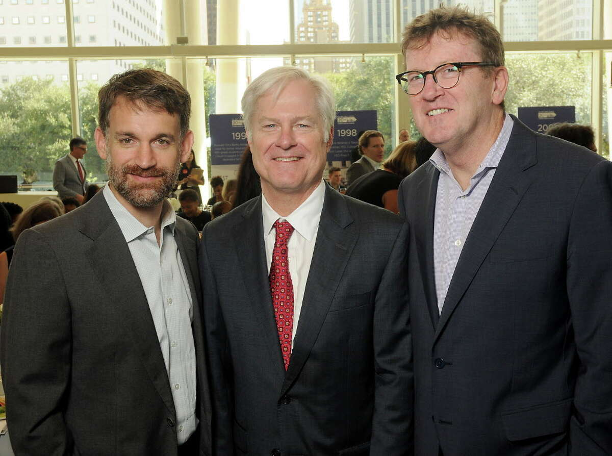 From left: John Arnold, Doug Foshee and Michael Skelly at the Yes Prep Legacy Luncheon at the Hobby Center Friday Nov.17,2017. (Dave Rossman Photo)
