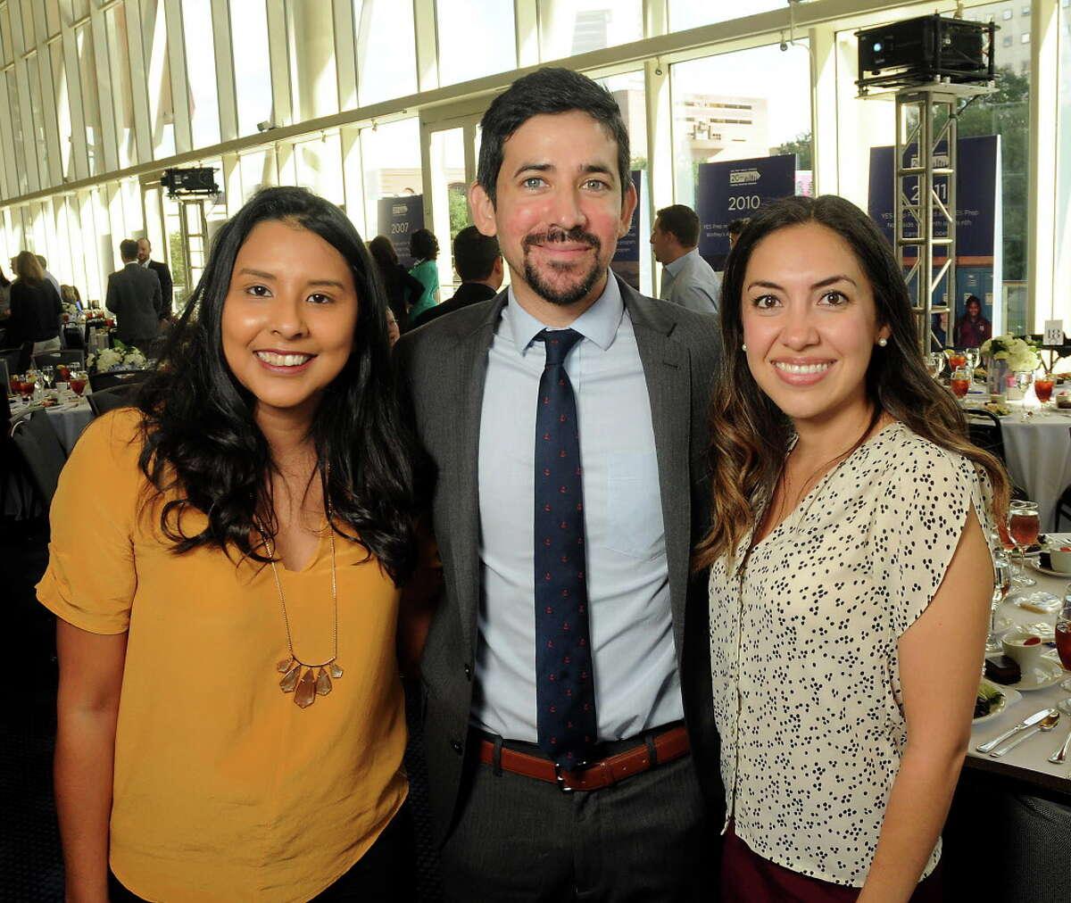 From left: Elyse Espades, Eric Espinoza and Kim Espinoza at the Yes Prep Legacy Luncheon at the Hobby Center Friday Nov.17,2017. (Dave Rossman Photo)